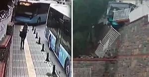 Halk Otobüsü Okulun Duvarını Yıkarak Durabildi