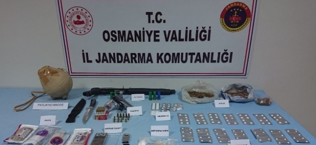 Osmaniye'de patlayıcı ve uyuşturucu operasyonu