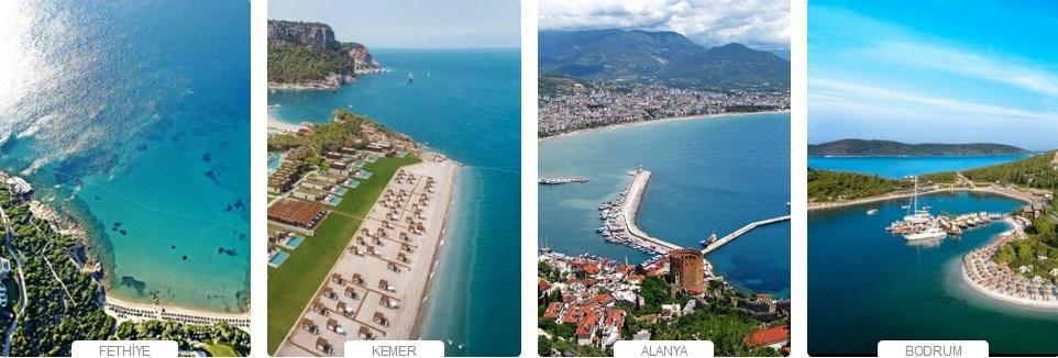 Türkiye'de Tatil Yerleri Haritası
